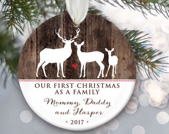 Deer Family of 3 Personalized Christmas Ornaments - Family of three Deer Ornament - Faux wood First Christmas as a Family  OR791