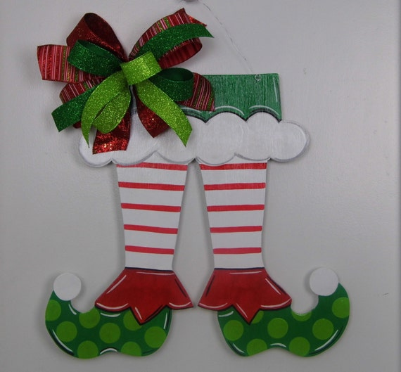 Christmas Elf Shoe Door Hanger Christmas Door Hanger Elf