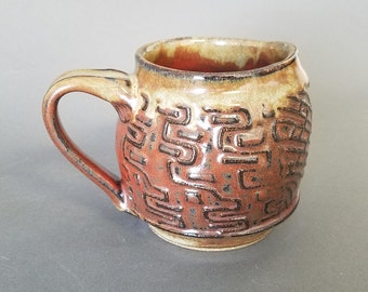 Wavy Textured Coffee Mug in Rustic Reds and Browns Tuscan Sunset Rust Iron Red