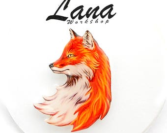 Fox brooch  fox jewelry friendly fox pin Animal brooch animal jewelry, fox pup, clay fox,  clay pin, gift for a friend.