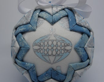 Quilted Fabric Ornament Winter Holiday Christmas Blue