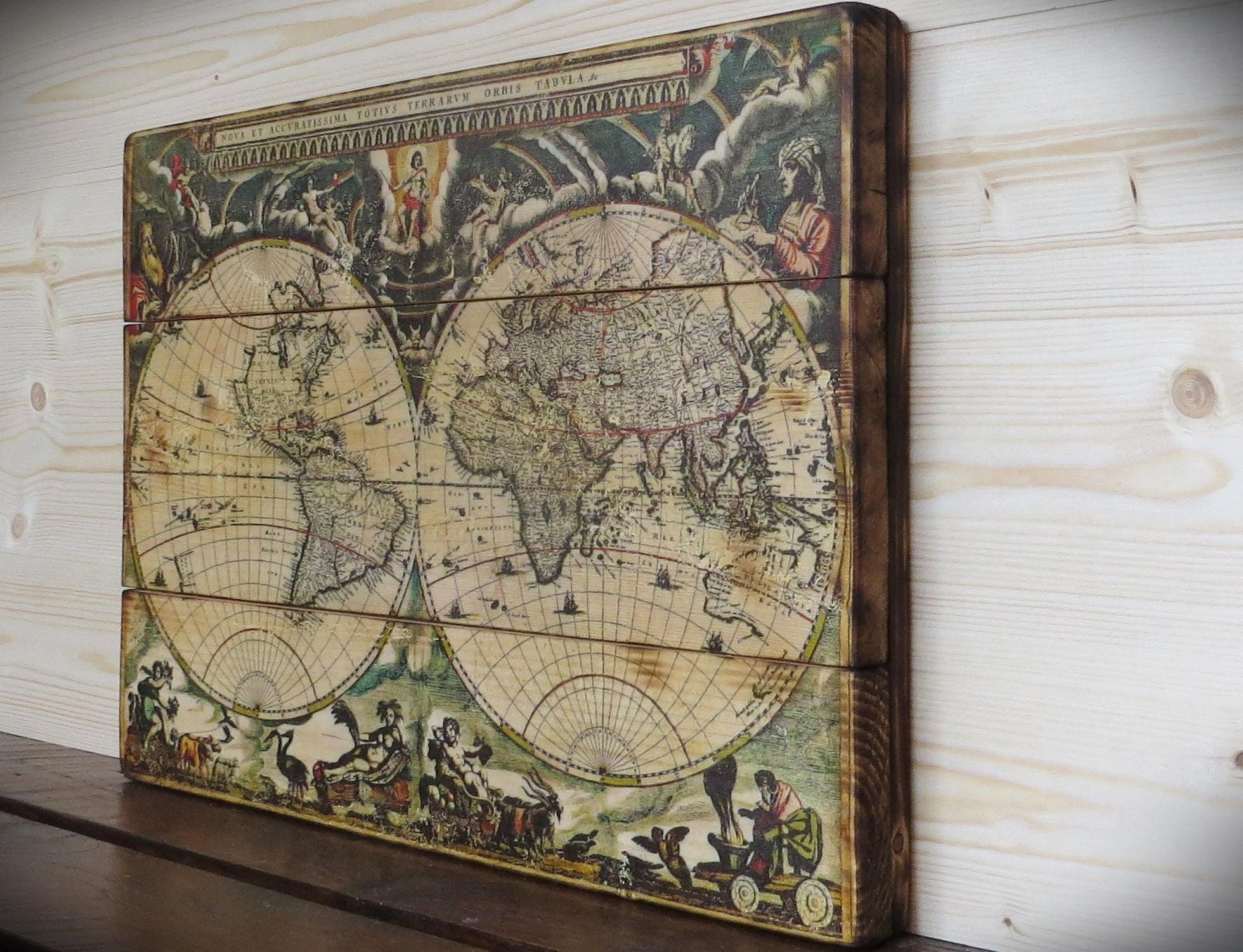 World map on wood personal gift map on wood globeearth map sold by printedwoodphoto gumiabroncs Gallery