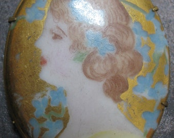 Gibson Girl Porcelain Brooch Art Nouveau Portrait Brooch SUPERB Antique Vintage Hand Painted Art Deco Lovely Woman Pin