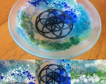 Unique handmade fused glass trinket dish