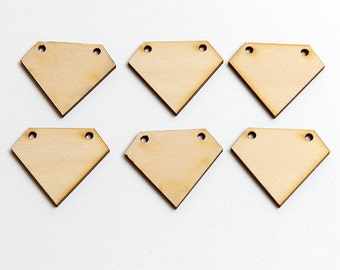 6 laser cut wood small diamond gems. Unfinished wood gems. Jewelry supply.