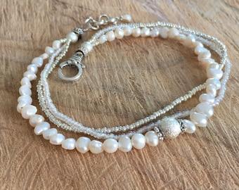 Freshwater pearls Ankle bracelet, boho wedding anklet, white anklet, bohemian chic summer jewelry