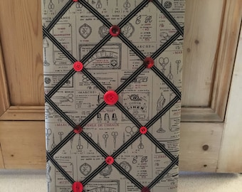 Memo Board with Vintage Sewing Print Fabric and Button Embellishments