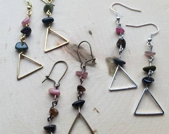 Watermelon Tourmaline Chip Earrings