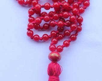 Long Red Knotted Mala Necklace with Cotton Tassel and Red Lantern Ceramic Guru Bead for Yoga & Meditation