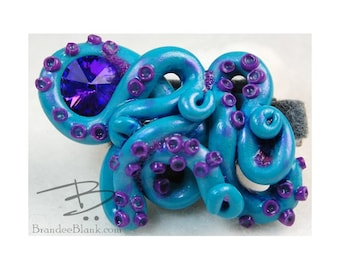 Tentacle Hair Clip in Teal and Purple 2 - free US Shipping!