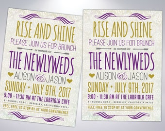 Wedding Brunch Invitations | Rise and Shine | Newlywed Breakfast | The Morning After |  Postcard Option or Invitation with Envelopes