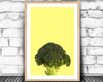 Brocolli Print, Peekaboo Boroccoli, Greenery Broccoli, Color of The Year, Peek Print, Brocoli, Eat Your Veggie Print, Veggie Peekaboo, JPG