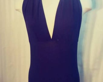 Custom Black Knit Deep Neckline Body Con Dress