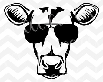 Sunglassess Heifer Face SVG Cutting File