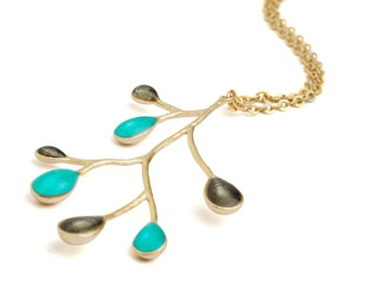 Turquoise necklace branch necklace gold nature jewelry enamel jewelry nature necklace branch pendant turqouise pendant