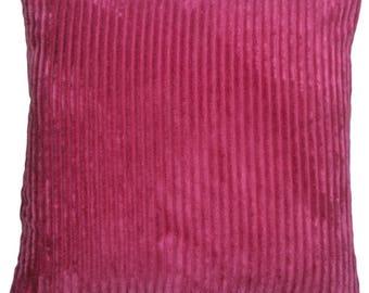 Wide Wale Corduroy 22x22 Magenta Pink Throw Pillow
