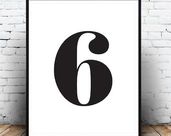 Modern Print, Monochrome Print, Number 6 Print, Six, Typography Poster, Affiche Typographie, Scandinavian, Black White, Affiche Numero