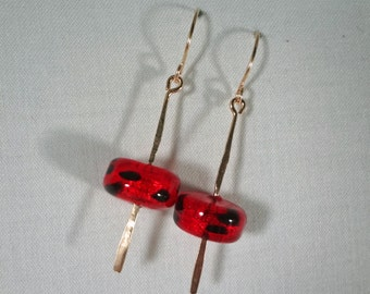 Red and Black Italian Glass Earrings(LVE120)