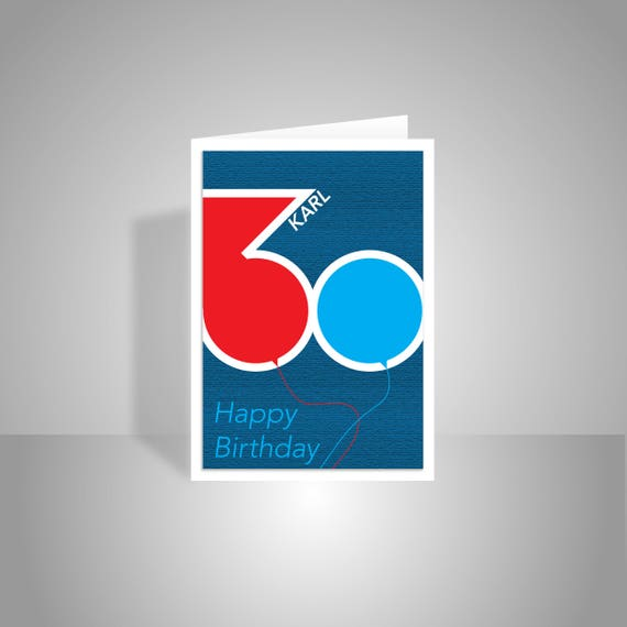 Personalised name 30th happy birthday card for him dad man like this item bookmarktalkfo Images