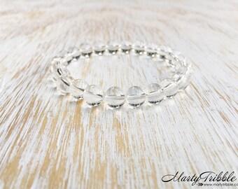 Quartz Bracelet, Clear Rock Quartz Stone, Mala Beads Bracelet, Gemstone Bracelet, Boho Bracelet, Buddhist Jewelry, Healing Crystal Bracelet