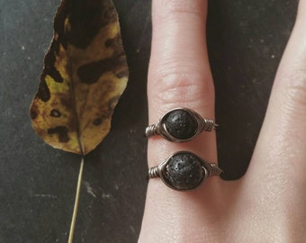 Essential Oil Diffuser Ring --- Lava Rock Aromatherapy Jewelry