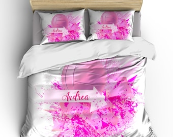 Abstract Pink Volleyball Splash Bedding, Personalized your Name -Toddler, Twin, F-Queen or King Size