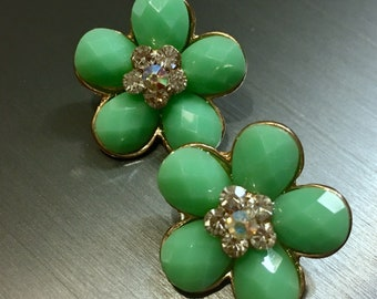 Green Faceted Goldtone Flowery Buttons with AB Crystals in Center Set of two