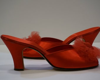 Vintage Daniel Green Red Satin Brocade and Tulle Boudoir Slippers Sz 7