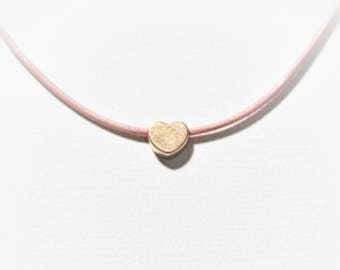 Rose gold heart necklace / pink leather choker / short necklace for women / pink / rose gold / pink gold / prom / 925 Sterling silver