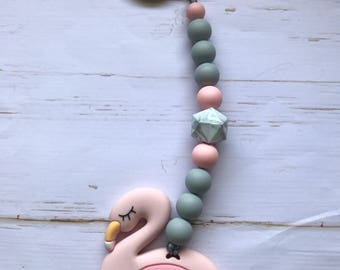 Teething toy - flamingo teething toy - girl teething toy - silicone teething toy - baby shower gift - New mom - handmade teething toy