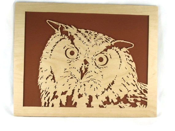 Owl Wood Art Portrait Handmade From Birch Wood By KevsKrafts