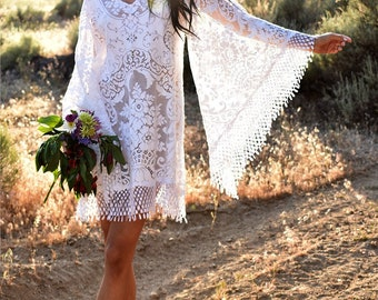 Vintage Lace Angel Sleeve Hippie Boho Festival White Crochet Backyard Beach Wedding Mini Dress Saldana Vintage