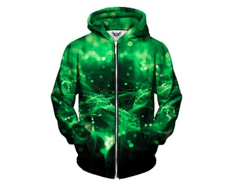 Green Spirits Zipup Sweatshirt - Trippy Hoodie - Rave Clothes - EDM Festival Clothing Hoody