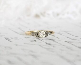 Original Vintage/Antique 18k Yellow Gold and Platinum Illusion Set Diamond Ring, Engagement Ring