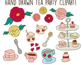 Clip Art - Tea Party ClipArt  - Digital Paper Pattern - Hand drawn clipart