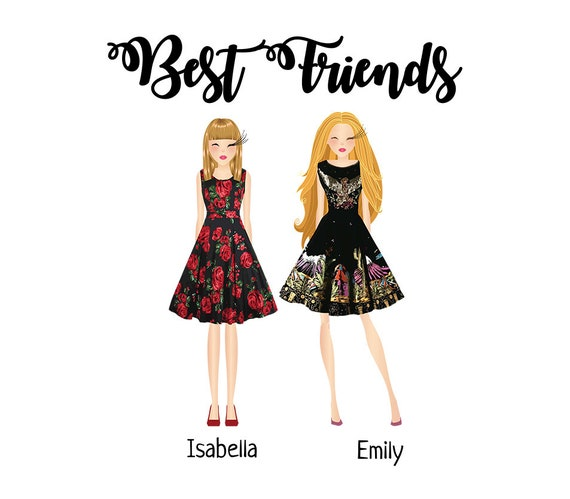 Custom Best Friends Illustration Digital Portrait