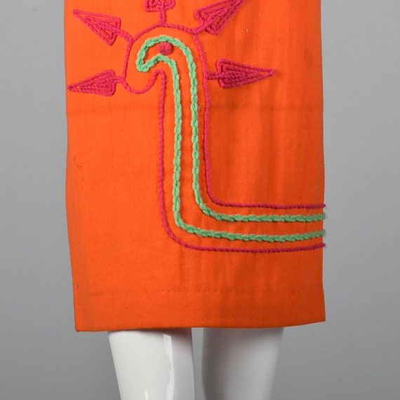 Medium 1960s Dress Shift Vintage Yarn 60s Spring Casual Summer Lightweight Applique Shift Dress Orange Sleeveless rdrWTtnAq