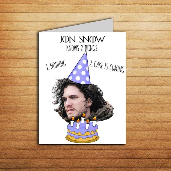 Jon Snow Birthday Card Funny Game Of Thrones Birthday Card