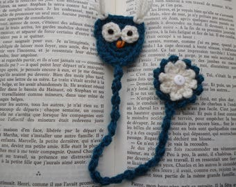 Hand crocheted bookmark OWL and flower in blue wool