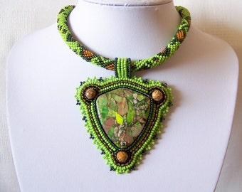 Bead Embroidery Statement Beadwork Pendant Necklace with Green sea sediment jasper - Green Land - green, dark green, brown - big pendant