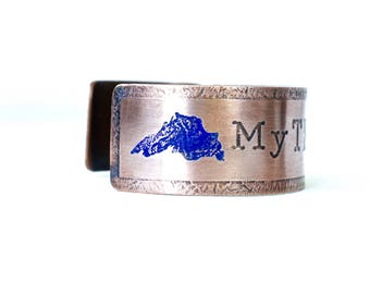 My True North Minnesota Copper Bracelet, Lake Superior Bracelet, Great Lakes Gift Ideas, State of Minnesota Jewelry, Minnesota Souvenirs