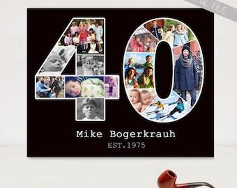 Personalized 40th birthday gift - Custom Birthday Gift Print Photo Collage - DIGITAL FILE!