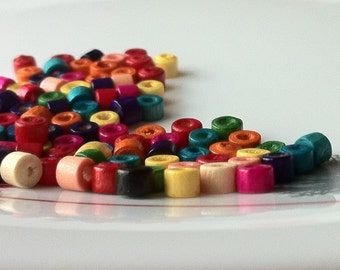 3 x 4 mm Assorted Colour  Lovely Mini Wooden Beads (.mmg)