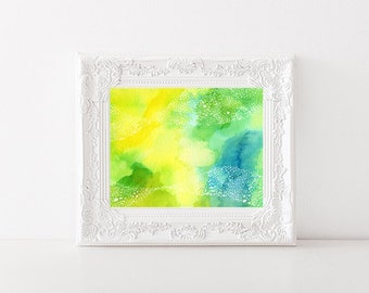 Green and yellow art work, Watercolour artwork, Abstract art, original art, modern art, A5 colourful art, ink art,
