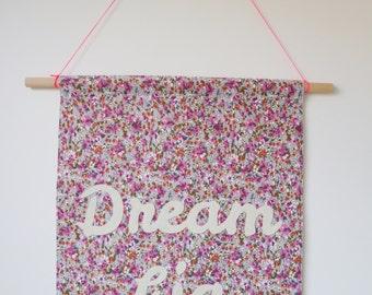 DREAM BIG fabric wall banner