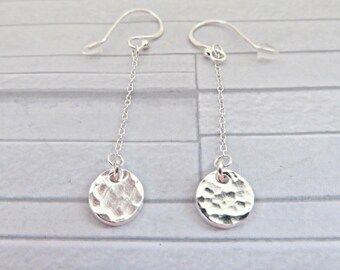 Silver textured earrings, Fine silver dangle earrings, Silver dangle earrings, Small disc earrings, Simple silver earrings, Made in the UK
