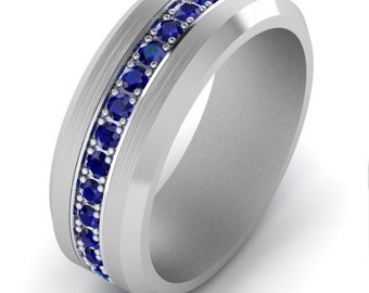 Eternity Blue Sapphire Mens Wedding Band Ring 1.08 Carats Available In  Tungsten, Platinum, 14K White, Rose, And Yellow Gold