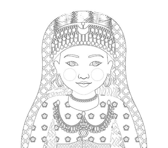 Assyrian Doll, Traditional Folk Dress, Coloring Sheet Printable