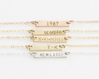 Extra Small Skinny Bar Necklace, Personalized 14k Gold Filled, Sterling Silver, or Rose Gold Filled Bar / GLDN Mini Bar Necklace, KAHLO