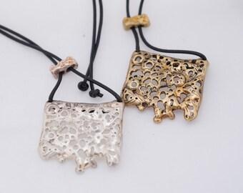 Sea inspired Rectangle Drip Pendant, ocean, burried treasure, silver,filigree
